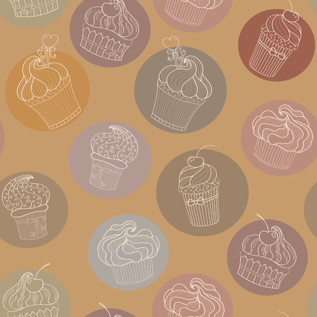 chocolate cupcake: vector chocolate cupcake seamless pattern