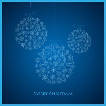 christmas snowflakes: three Christmas ball from snowflakes for a card vector