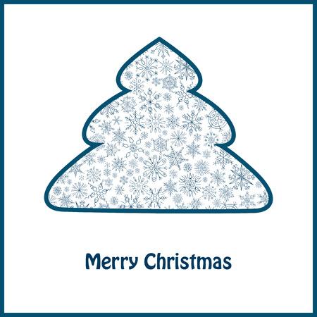 christmas tree illustration: Christmas tree from snowflakes greeting card vector illustration