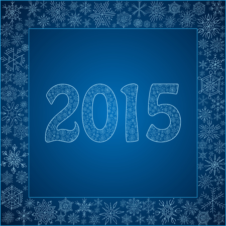 patterning: Card with snowflakes, number 2015 made of snow. Vector illustration