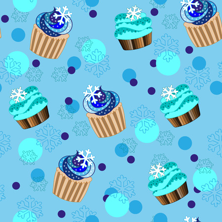 winter cherry: Christmas and New Year cupcakes holiday vector seamless pattern Illustration