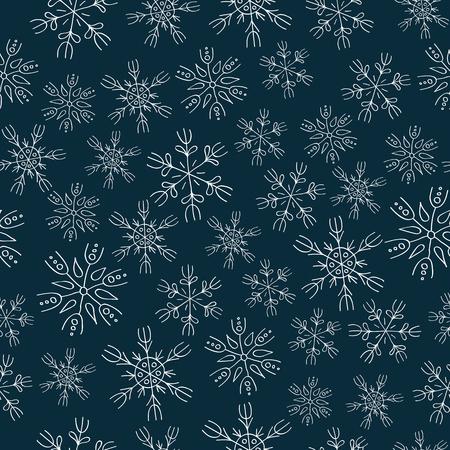 varied: White snowflakes on blue background seamless pattern Illustration