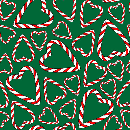 christmas candies: vector seamless pattern with christmas candies on green background