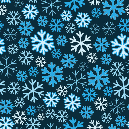 seamlessly: White and blue snowflakes on blue background seamless pattern