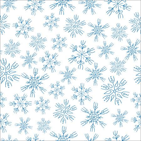 blue snowflakes: Blue snowflakes on white background seamless pattern
