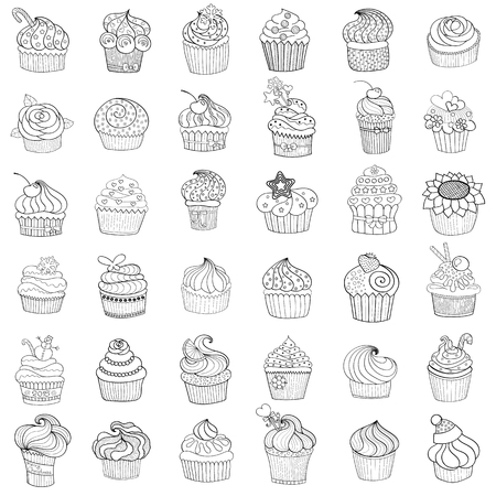 cupcakes isolated: Sketches of cakes and cupcakes isolated on white. Vector illustration.