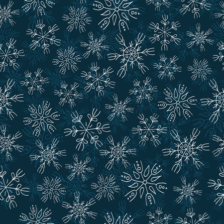 varied: White and blue snowflakes on blue background seamless pattern