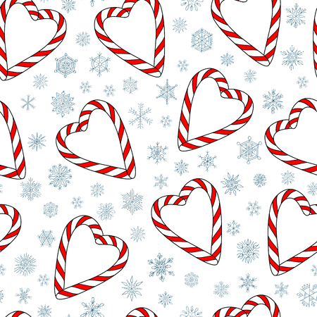 christmas candies: vector seamless pattern with christmas candies on white background with snowflakes