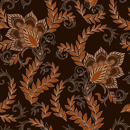 mehendi: Henna Mehendi Tattoo Doodles Seamless Pattern on a brown background Illustration