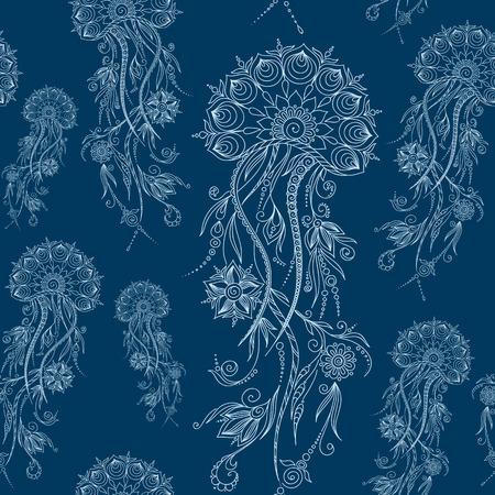 hydrozoa: Hand drawn jellyfish. Vector illustration. Henna Mehendi Tattoo Doodles Seamless Pattern on a blue background. Illustration