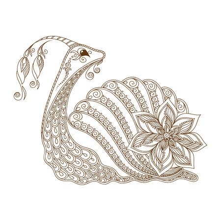 dna smile: Vector illustration of Snail cartoon. Henna Mehendi style Illustration