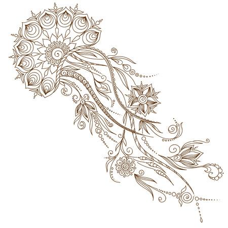 hydrozoa: Hand drawn jellyfish. Vector illustration. Henna Mehendi Tattoo Doodles