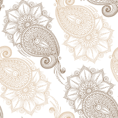 tatouage fleur: Henna MehendyTattoo Doodles Seamless sur un fond blanc Illustration