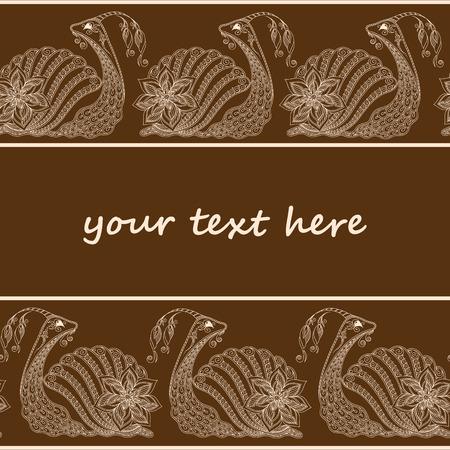 crawling creature: Vector illustration of Snail cartoon. Henna Mehendi style. seamless pattern