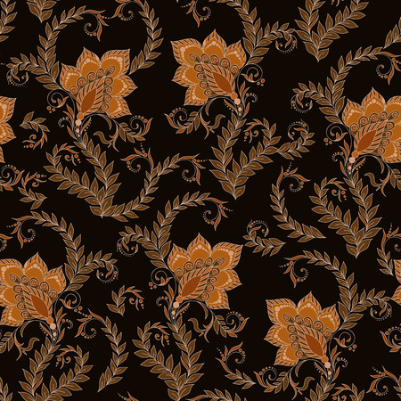 mehendi: Henna Mehendi Tattoo Doodles Seamless Pattern on a brown background Illustration