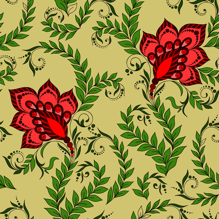 mehendi: Henna Mehendi Tattoo Doodles Seamless Pattern on a green background Illustration