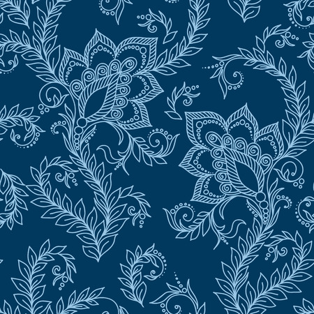 mehendi: Henna Mehendi Tattoo Doodles Seamless Pattern on a blue background