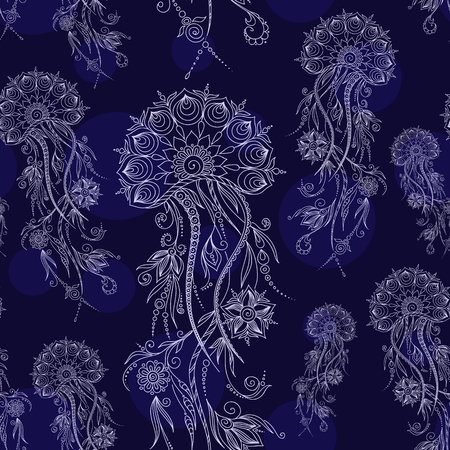 hydrozoa: Hand drawn jellyfish. Vector illustration. Henna Mehendi Tattoo Doodles Seamless Pattern on a blue background. Illustration