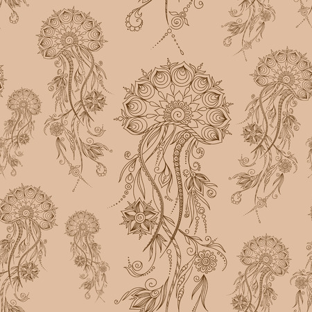 hydrozoa: Hand drawn jellyfish. Vector illustration. Henna Mehendi Tattoo Doodles Seamless Pattern on a brown background.