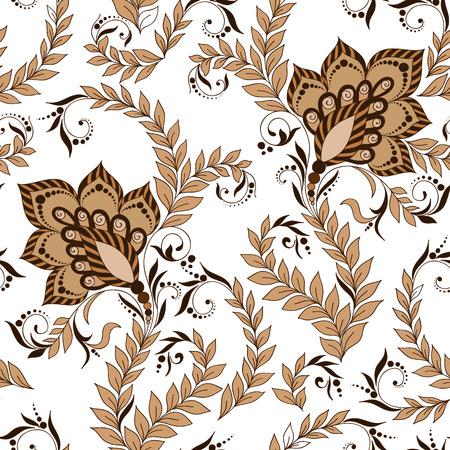 mehendi: Henna Mehendi Tattoo Doodles Seamless Pattern on a white background