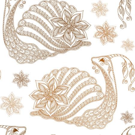 creeps: Seamless pattern of cartoon snails. Hand drawn vector background.Henna Mehendi style