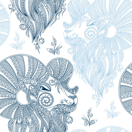 year of sheep: Winter seamless pattern with head sheep and snowflakes.Symbol 2015 year sheep.Use for fabric,Wallpaper,background,wrapping paper. Mehendi style