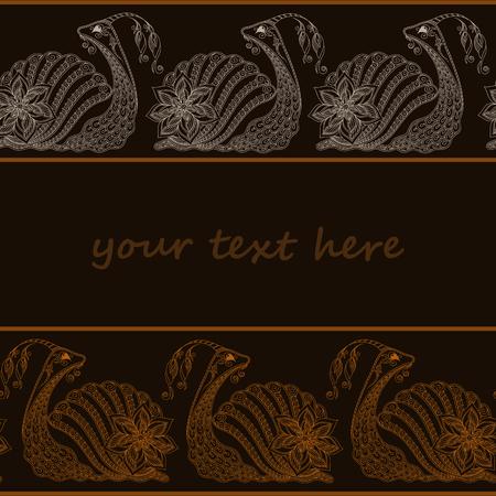 dna smile: Vector illustration of Snail cartoon. Henna Mehendi style. seamless pattern
