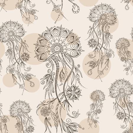 hydrozoa: Hand drawn jellyfish. Vector illustration. Henna Mehendi Tattoo Doodles Seamless Pattern on a brown background.