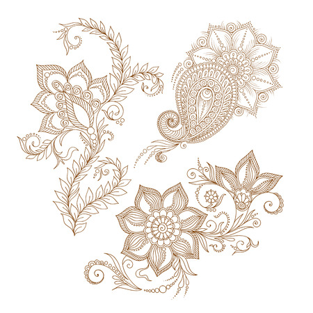 Vector abstract floral elements in indian mehendy style. Abstract henna floral vector illustration. Design element. 矢量图像