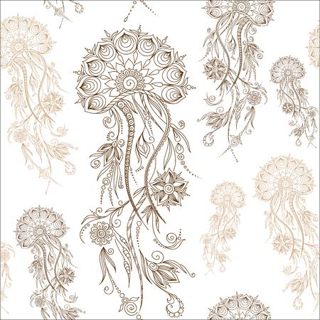 hydrozoa: Hand drawn jellyfish. Vector illustration. Henna Mehendi Tattoo Doodles Seamless Pattern on a white background. Illustration
