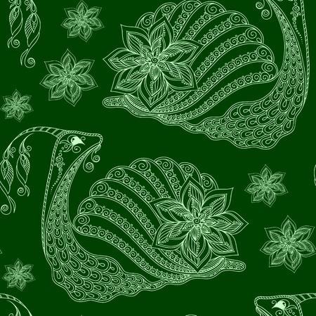 dna smile: Seamless pattern of cartoon snails. Hand drawn vector background.Henna Mehendi style
