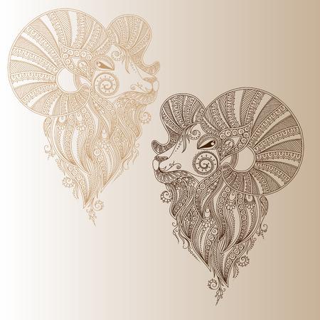 rams: Rams head. Symbol of the new year. Christmas. Mehendi style