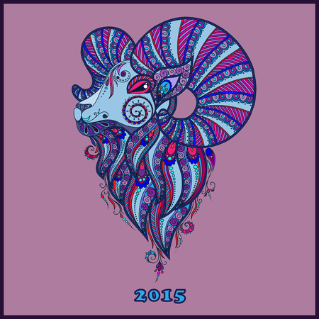 year of sheep: Ornamental decorative symbol of the new year  sheep  goat  2015 Illustration