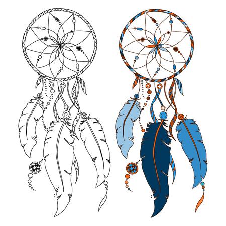atrapasueños: Dreamcatcher, plumas y cuentas. Nativo americano atrapasueños indio, símbolo tradicional Vectores