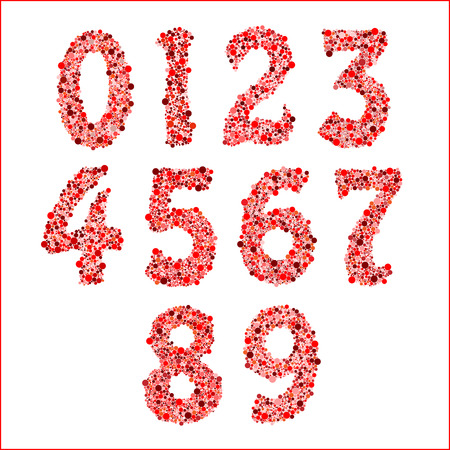 0 to 5: alphabet symbols of colorful bubbles or balls. Numbers 1 2 3 4 5 6 7 8 9 0