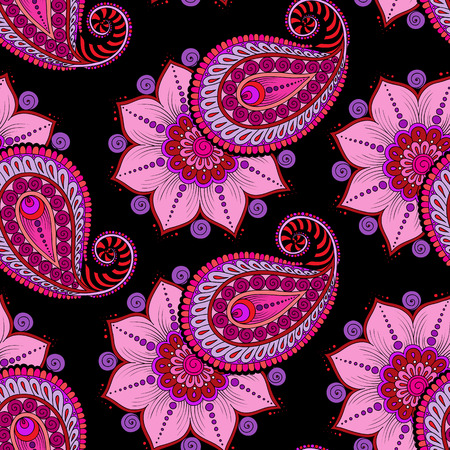 tilable: Henna Mehendi Tattoo Doodles Seamless Pattern on a dark pink background