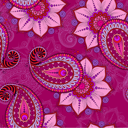 mehendi: Henna Mehendi Tattoo Doodles Seamless Pattern on a pink background