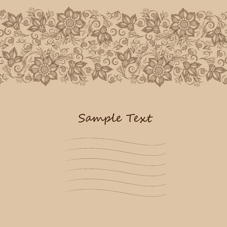 mendi: seamless floral background with indian ornament. Lace pattern for invitation or greeting card Illustration