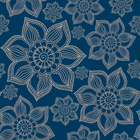 Henna Mehendi Tattoo Doodles Seamless Pattern on a blue background