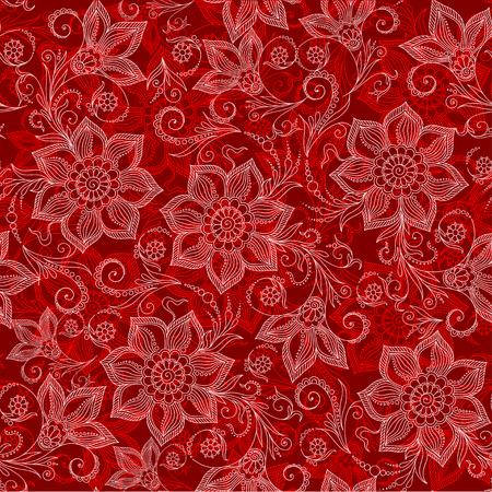 mehendi: Henna Mehendi Tattoo Doodles Seamless Pattern on a red background Illustration