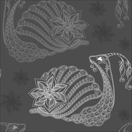 dna smile: Seamless pattern of cartoon snails. Hand drawn vector background.Henna Mehendi style