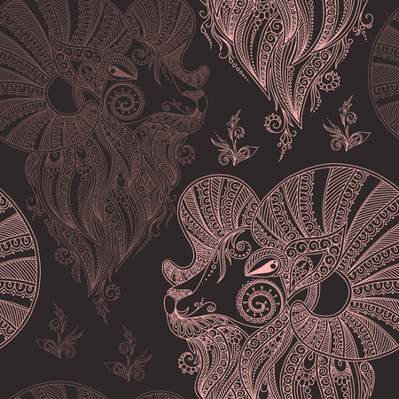 rams: Rams head. Symbol of the new year. Christmas background. seamless pattern. Mehendi style