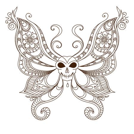 Art skull butterfly tattoo. Henna Mehendi style Illustration