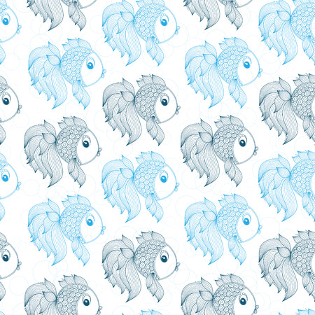 blue fish: Blue fish on a white background seamless pattern Illustration