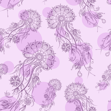 hydrozoa: Hand drawn jellyfish illustration. Henna Mehendi Tattoo Doodles Seamless Pattern