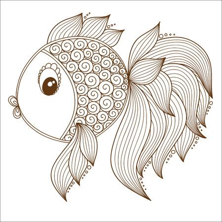 mehendi: Abstract Tropical Fish. Henna Mehendi style