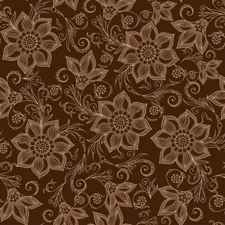 Henna Mehendi Tattoo Doodles Seamless Pattern on a brown background Illustration