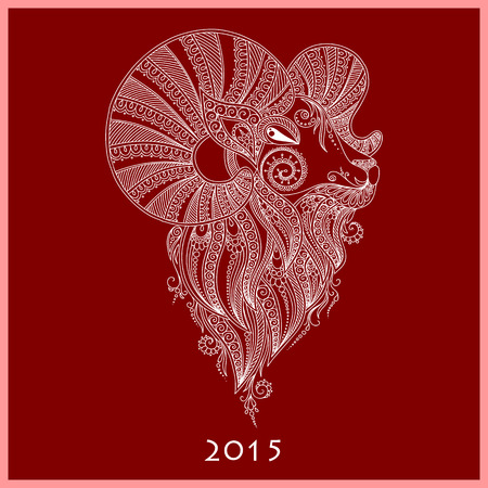 Rams Head Symbol Of The New Year Mehendi Style Royalty Free