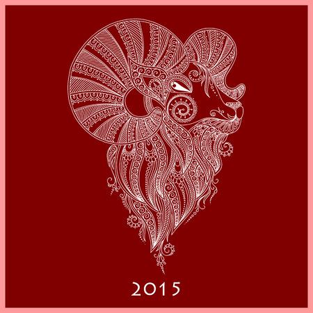 rams: Rams head Symbol of the new year. Mehendi style Illustration