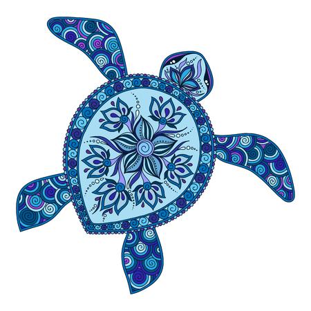 Tortue graphique décorative, style de tatouage, animal totem tribal, illustration vectorielle, éléments isolés, motif de dentelle, style mehendi indien